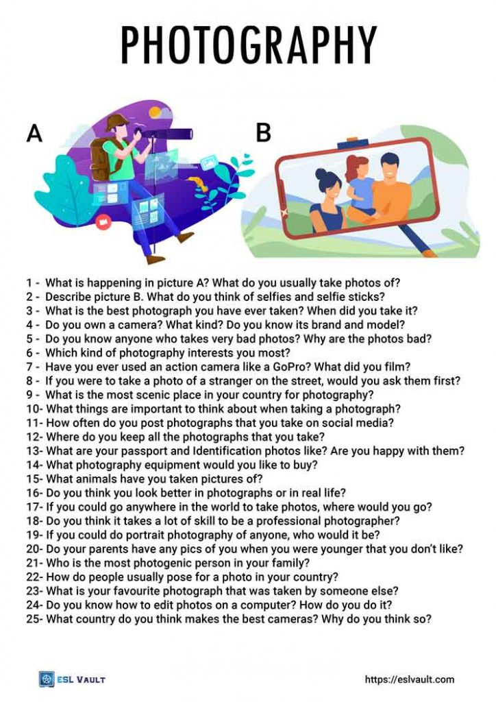 photography conversation questions for ESL